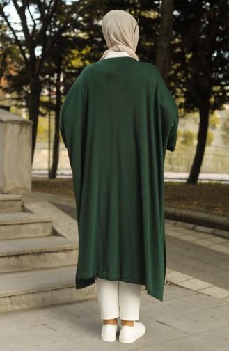 Triko Düğmeli Panço 4253-05 Zümrüt Yeşili