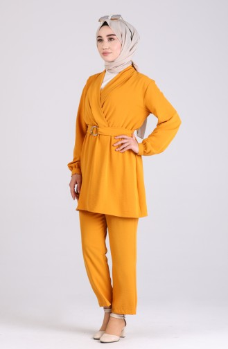 Belted Tunic Trousers Double Suit 1090-01 Mustard 1090-01