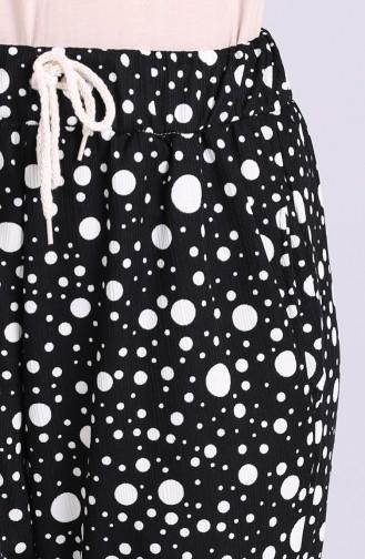 Lastikli Desenli Pantolon 9016-01 Siyah