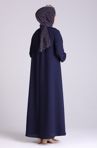 Sleeve And Collar Gathered Dress 3210-01 Navy Blue 3210-01