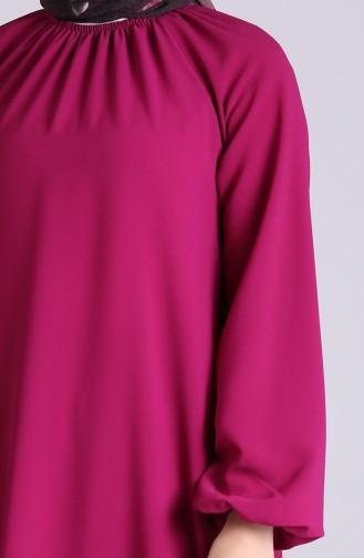 Kolu Ve Yakası Büzgülü Elbise 3210-03 Fuşya