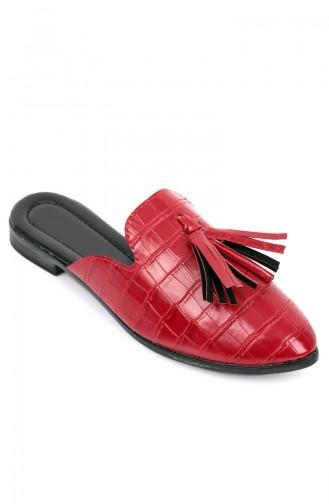 Bayan Püsküllü Terlik 87021 Kırmızı Kroko
