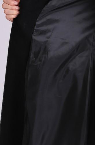Kapüşonlu Kaşe Kaban 1003-06 Siyah 1003-06