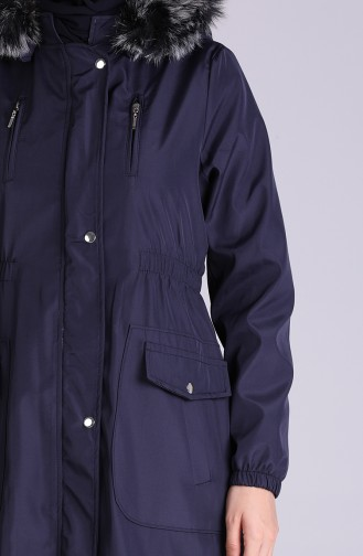 Fur Hooded Coat 9055-02 Navy Blue 9055-02