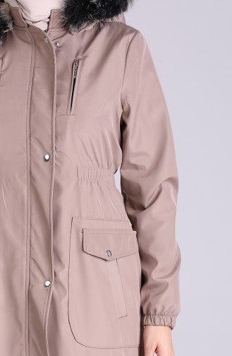Fur Hooded Coat 9055-07 Beige 9055-07