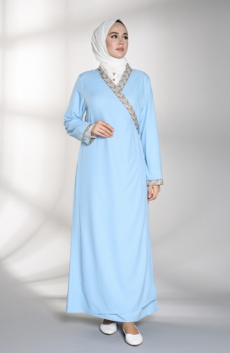 Robe de Prière Bleu Bébé 1001B-02