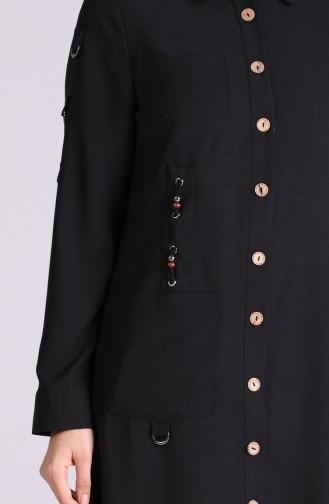 Düğmeli Uzun Tunik 7775-02 Siyah