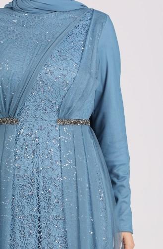 Indigo Islamic Clothing Evening Dress 5388-02