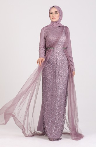 Sequined Tulle Evening Dress 5388-07 Lilac 5388-07
