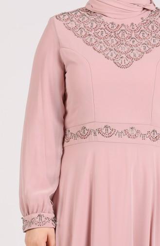 Beige-Rose Hijab-Abendkleider 1555-09