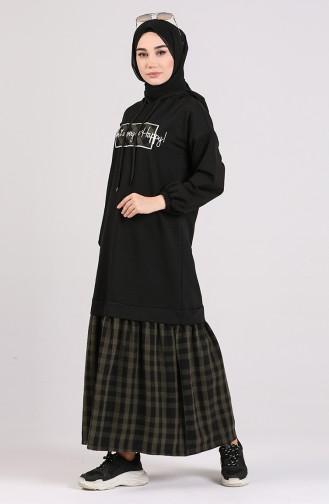 Khaki Hijap Kleider 8129-02