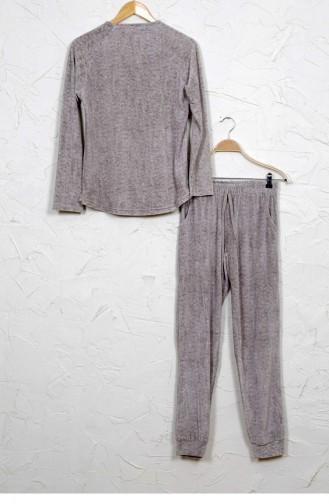 Vienetta Elastan Kadife Pijama Takım 50740000 Kahverengı