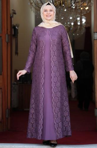 Purple İslamitische Avondjurk 3293-05