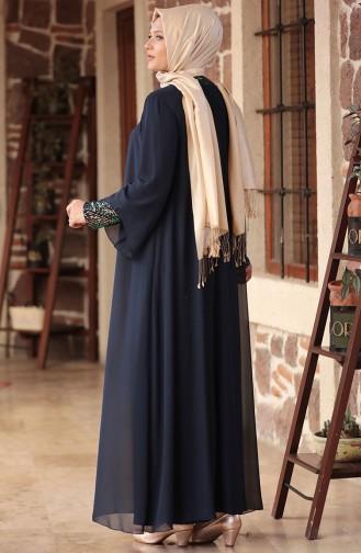 فساتين سهرة بتصميم اسلامي أزرق كحلي 3263-02