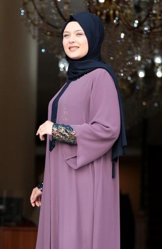 Lilac Islamic Clothing Evening Dress 3263-05