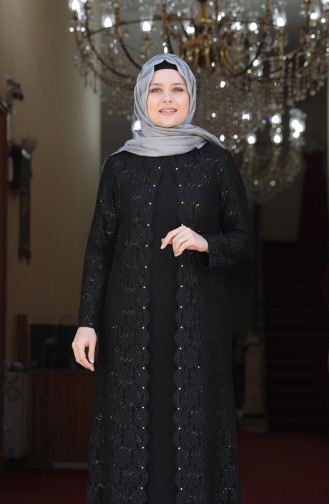 Black Islamic Clothing Evening Dress 3293-01