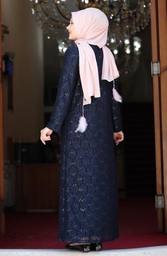Büyük Beden Dantelli Abiye Elbise 3293-04 Lacivert
