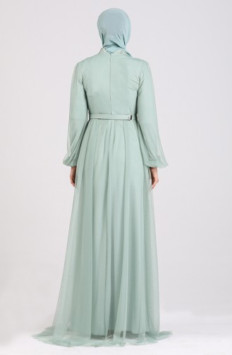 Unreife Mandelgrün Hijab-Abendkleider 5383-03