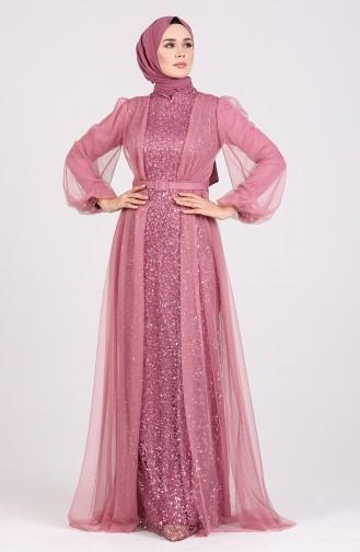 Beige-Rose Hijab-Abendkleider 5383-08