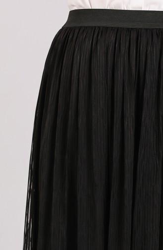 Deri Detaylı Etek 2131-01 Siyah 2131-01