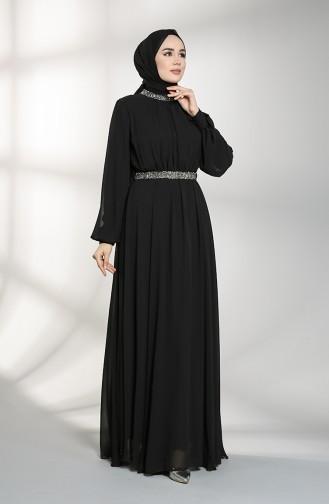 Belted Chiffon Evening Dress 5339-06 Black 5339-06
