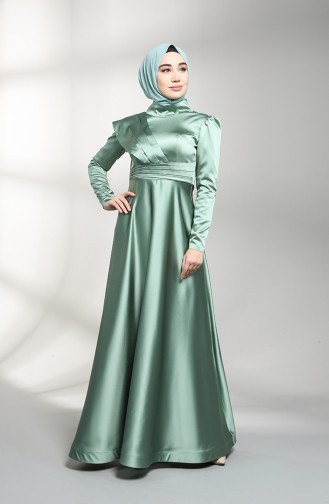 Unreife Mandelgrün Hijab-Abendkleider 4832-03