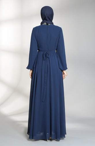 Belted Chiffon Evening Dress 5339-02 Navy Blue 5339-02