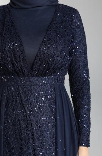 Dunkelblau Hijab-Abendkleider 5390-09