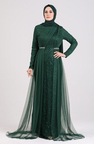 Smaragdgrün Hijab-Abendkleider 5388-04