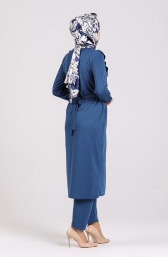 Fırfırlı Spor Tunik Pantolon İkili Takım 0105-01 İndigo