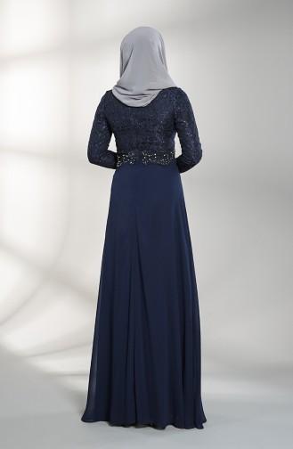 Sim Dantelli Abiye Elbise 4709-02 Lacivert