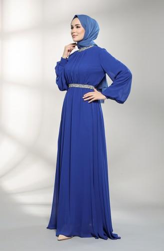 Saxe Hijab Evening Dress 5339-08