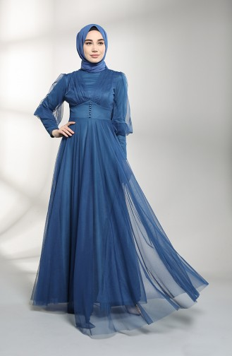 Indigo Hijab-Abendkleider 5387-12