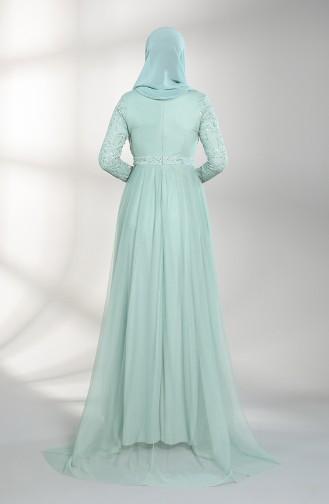 Unreife Mandelgrün Hijab-Abendkleider 5390-07