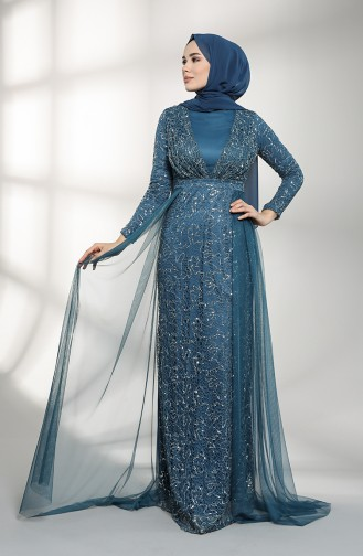 Indigo Hijab-Abendkleider 5390-08