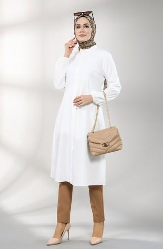 Düğmeli Ara Boy Tunik 10139-12 Beyaz