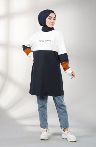 Printed Sports Tunic 8272-13 Navy Blue 8272-13