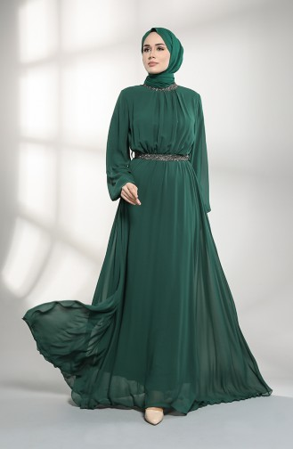 Belted Chiffon Evening Dress 5339-01 Emerald Green 5339-01