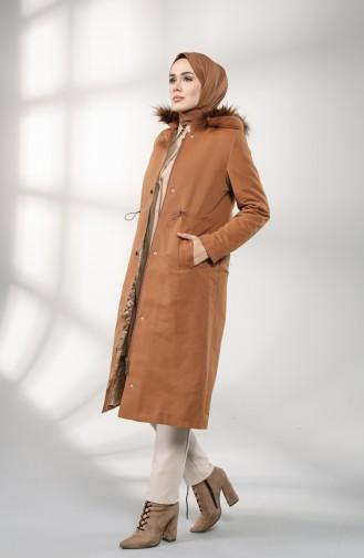 Pleated waist Fur Coat 4602-02 Cinnamon Color 4602-02