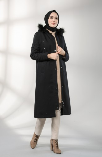 Shirred waist Fur Coat 4602-04 Black 4602-04