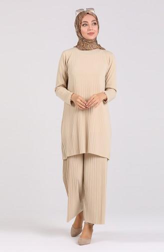 Piliseli Tunik Pantolon İkili Takım 5219-16 Bej