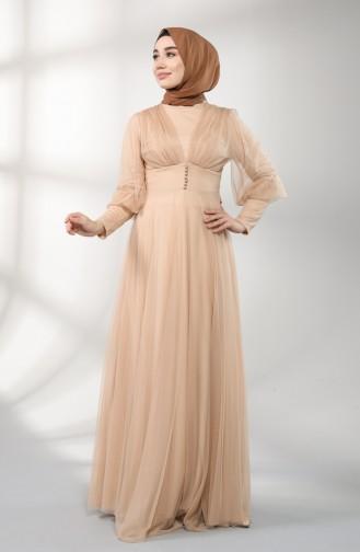 Beige Islamic Clothing Evening Dress 5387-02