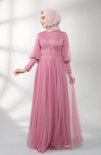 Dusty Rose Islamic Clothing Evening Dress 5387-03