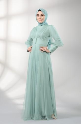 Unreife Mandelgrün Hijab-Abendkleider 5387-04