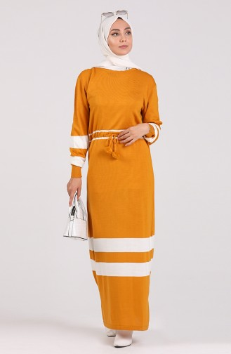 Mustard İslamitische Jurk 5077-08