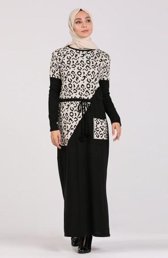 Triko Desenli Elbise 5097-09 Siyah
