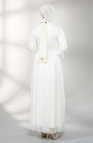 Belted Evening Dress 5351-02 Ecru 5351-02