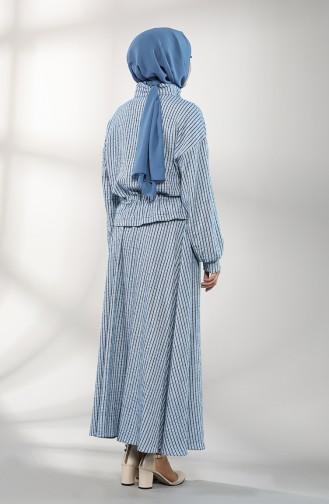 Beli Büzgülü Ceket Etek İkili Takım 2011-01 Mavi
