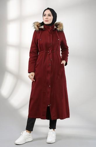معطف طويل أحمر كلاريت 7102-04
