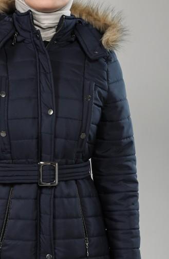 Hooded Short Coat 0129-03 Navy Blue 0129-03